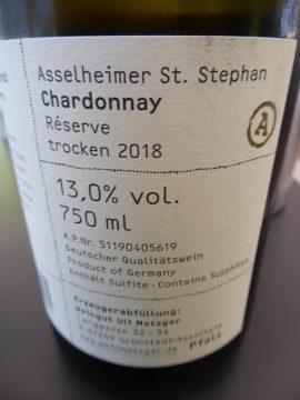 Chardonnay St. Stephan Réserve 2018, Weingut Uli Metzger